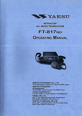 NEW Yaesu FT-817ND Operating Manual Book in English