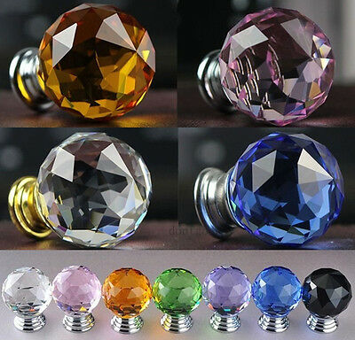 Door Knob Antique Vintage Tint Glass Handle Crystal Drawer Pull Cabinet Wardrobe