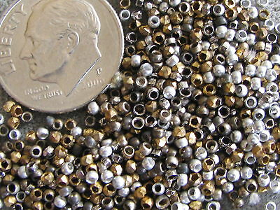 Antique French Cut Steel Beads Gold Silver Steel Gray Bronze