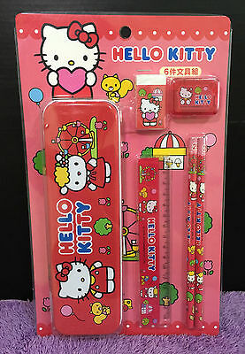 New Hello Kitty Stationery Set Gift Cute Kitten Pencil Case Eraser Ruler Xmas