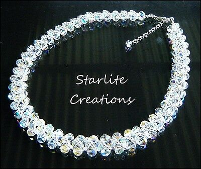 Clear AB faceted Crystal Necklace & Sterling Silver Handcrafted Bridal Formal