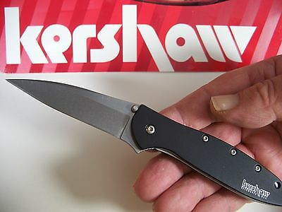 "KERSHAW ""USA"" - Black LEEK Assisted SPEEDSAFE Knife w/ SAFETY LOCK KS 1660SWBLK"