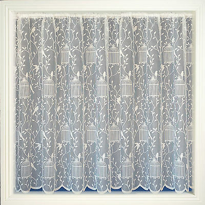 Birdcages/ Song Birds Net Curtain, White, 6 Drops, Sold Per Metre
