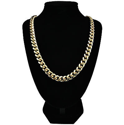 """Mens 24k Gold Plated Curb Chain Heavy Necklace 24"""" & 30"""" Long 10mm Wide New"""