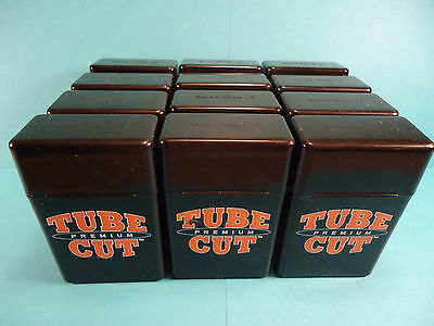 12ct GAMBLER TUBE CUT TOP STRONG BOX PLASTIC CIGARETTE CASES KING SIZE