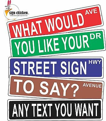 """PERSONALIZED STREET SIGN - any text you want - ALUMINUM 4"""" X 18"""", gift, decor"""