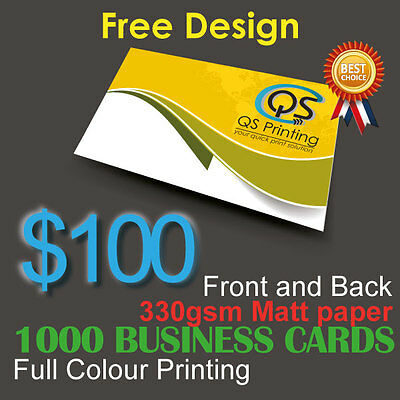 1000 Business Cards full colour Printing (Front&Back) on 330gsm paper+FreeDesign