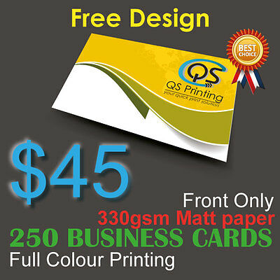 250 Business Cards full colour Printing (Front ONLY) on 330gsm paper+FreeDesign