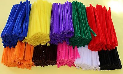 500 Chenille Sticks Stems Pipe Cleaners Assorted Colours Kids Bulk Craft