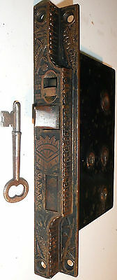 large Antique Eastlake Victorian Era BLW Ornate Heavy BrassMortise Lock with Key