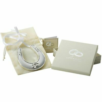"Personalised ""Good Luck""  Horseshoe silver plated Free engraving Wedding Gift"