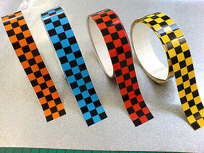"CHEQUERED TAPE COLOURED 50"" x 2"" Strip LAMINATED for extra durability 1 off"