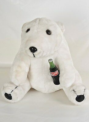 Coca-Cola Brand Stuffed Plush Collection Polar Bear Sitting with Coke Bottle