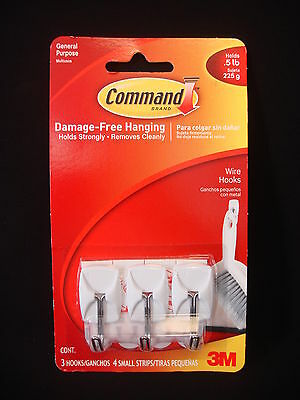 3M Command Brand General Purpose 3 Wire Hooks & 4 Strips Up To 0.5 lb (1 Pack)