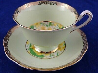 Royal Albert Crown China Tea Cup & Saucer Green, Yellow Flowers & Gold Trim