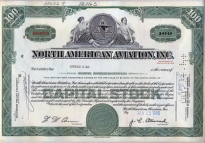 North American Aviation Stock Certificate Now Boeing Green