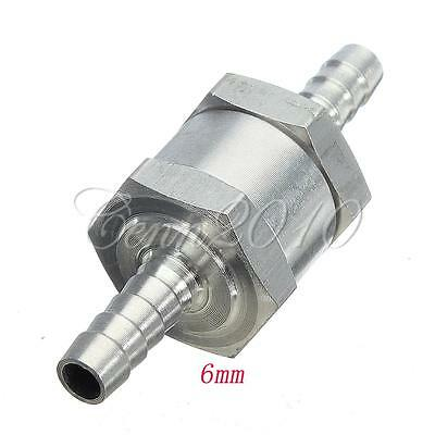 6mm Aluminium Fuel Hose Non Return Check Valve One Way Petrol Diesel Chrome Car