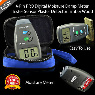 Digital Moisture Meter 4 Pin Damp Detector Tester PRO Plaster Wood Timber Sensor