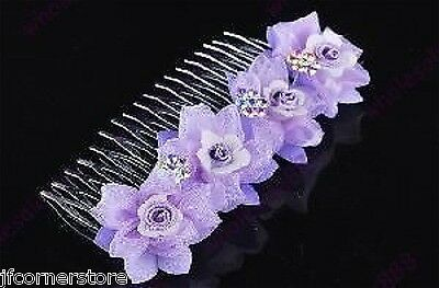 Beautiful Rhinestone Crystal & Lilac Flower Tiara/Comb- Brand New T61