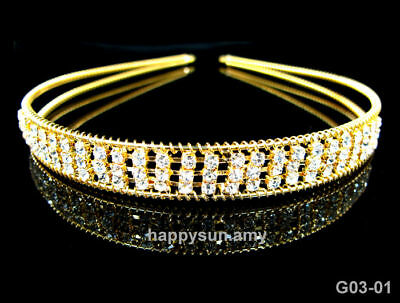 Beautiful 3 Row Crystal Tiara/Headband- Brand New T23