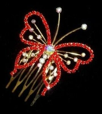 Beautiful Red Crystal/Rhinestone Diamante   Crystal Tiara/Comb- Brand New T62