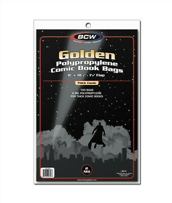 200 BCW THICK Golden Age Comic Book NON-RESEALABLE 2mil Poly Bags +Backer Boards