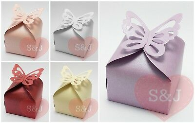 10/50 Butterfly Wedding Bomboniere Boxes - Thank You Gifts - Baby Shower Favours