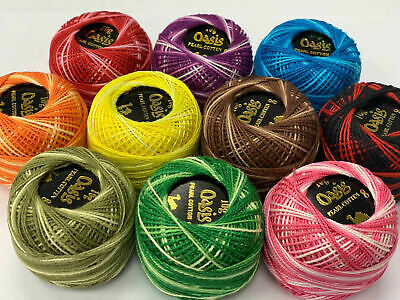 10 Anchor Variegated Pearl Cotton Balls size 8 Assorted Basic colours