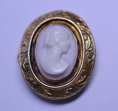 Antique Victorian Gold Filled Pink Shell Cameo Repoussé Watch Chatelaine Pin