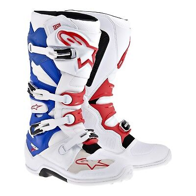 Alpinestars NEW 2017 Mx Tech 7 Dirt Bike USA Blue Red White Motocross Boots