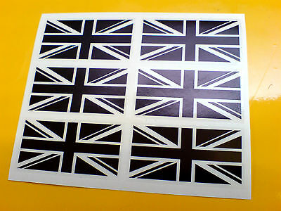 UNION JACK FLAGS Black on Clear set of 6 UK GB Car Bumper Stickers Decals 50mm