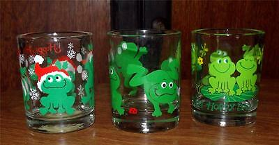 Votive or Tealight Glass Candle Holders Set of 3 Fun Frog Candle Holders  R4