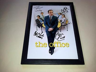 "The Office Us Cast X5 Pp Signed & Framed 12""x8"" Poster Steve Carell"