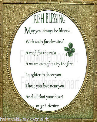 An Old Irish Blessing Gold Oval  May  You Always Be Blessed Wall Art Print