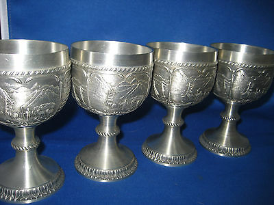 4 SKS Antique German Embossed Engraved Solid Pewter High Heel Cups 4 Scenes Nice