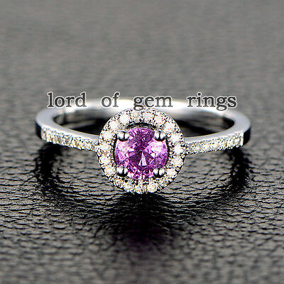5mm VS1 Round Cut Pink Sapphire Pave Diamonds Promise Ring Solid 14K White Gold