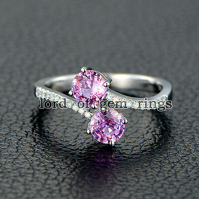 Double Round Cut Pink Sapphire Pave Curved Diamonds Promise Ring 14K White Gold