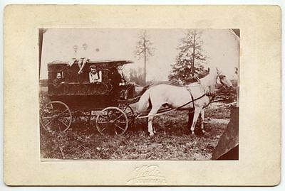 2 Horses Pulling Covered Wagon W/ Family By Wade, Columbus, Oh, Cab Photo