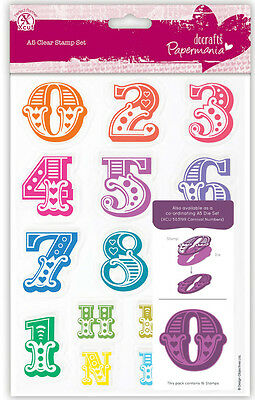 A5 Papermania Carnival 16 set clear stamps Numbers 0 to 9 Numerals + H R T N D S