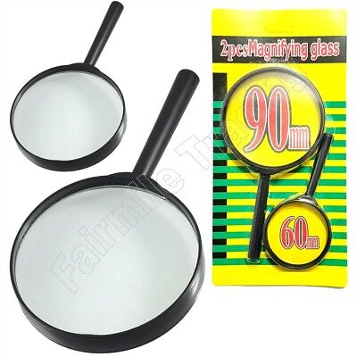 2x Magnifying Glass Set Jumbo Travel 100mm 45mm Magnifier x3 Magnify Reading Map