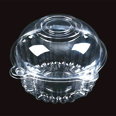 "60 Clear Plastic 4.5"" Food Take Out Clamshell Container Cupcake Cookie Favor D9"
