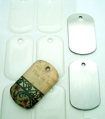 9 Sets Dog Tags with Matching Epoxy Resin Stickers Domes Covers Pendants DIY