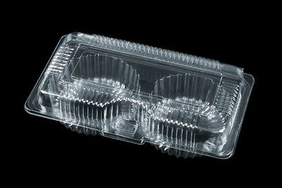 "50 Clear Plastic 7"" Food Take Out Clamshell Container Cupcake Cookie Favor  #D1"