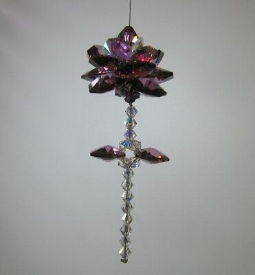 Flower Rose Suncatcher Made With Swarovski Lilac Shadow / Deep Purple, Gift Box