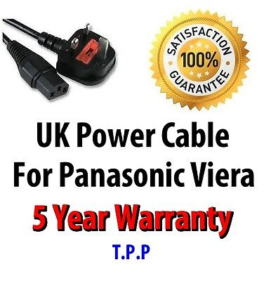 UK Mains Ac Power Cord Cable for Panasonic Viera TV LCD Plasma DLP