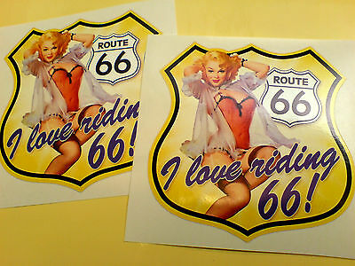 ROUTE 66 I LOVE RIDING Retro Car Bumper Motorhome Stickers Decals 2 off 95mm