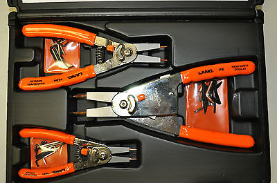 Lang 1465 Snap Ring Pliers 3 Piece Quick Switch Retaining Ring Pliers Set USA