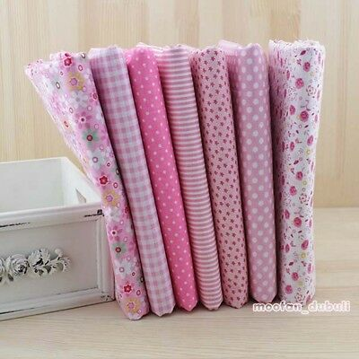 """Pink Series 7 Assorted Pre-Cut Charm Cotton Quilt Fabric 19.7"""" Fat Quarters"""