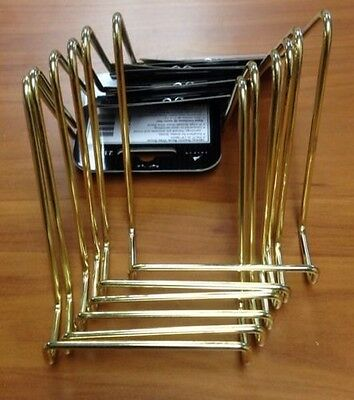 """Lot Of (6) Brand New Tripar 3"""" Small Smooth Brass Wire Display Plate Stands"""