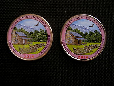 2014 Colorized Great Smoky Mountains Tennessee National Park Quarter P + D Mint